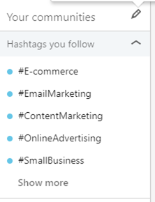 You can see the hashtags you can use displayed.